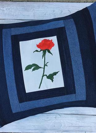 Hand made декоративная большая подушка с вышивкой роза