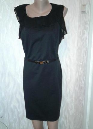 Черное платье миди с поясом**- летние скидки