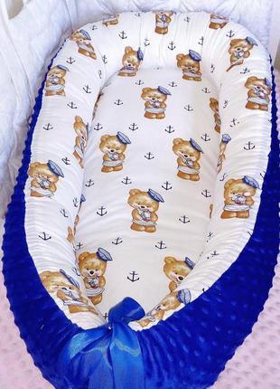 Кокон гнездышко со сьемным матрасиком для новорожденного мальчика мишки плюш минки