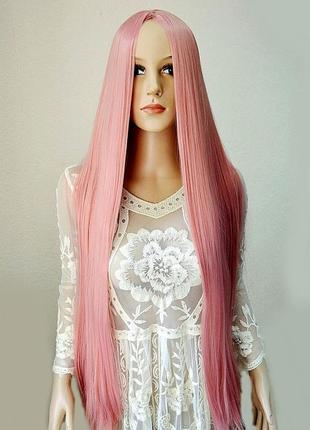 Парик без челки с имитацией кожи, цвет: розовый, длина 100 см