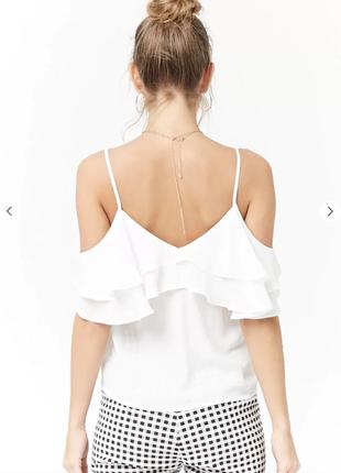 Белая блуза с открытыми плечами майка вырезы atmosphere