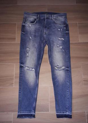 Мужские джинсы zara с разрывами и необработаной кромкой!💥 расспродажа💥