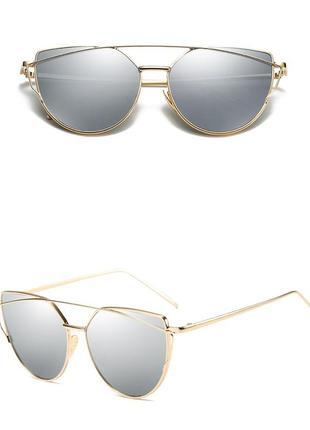Стильные солнцезащитные очки.зеркальные очки.очки.очки кошачьи глазки.