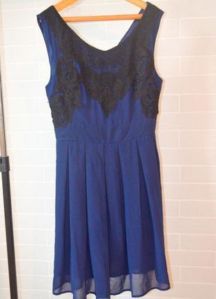 Темно синее шифоновое платье с кружевом миди коктельное
