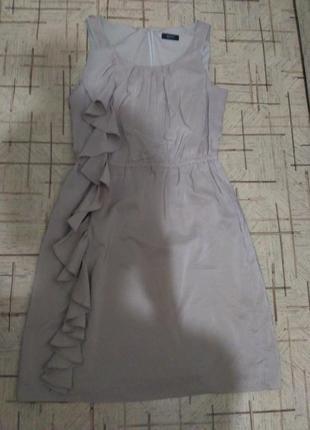 Воздушное платье с воланом миди длины