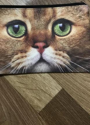 Косметичка с 3д принтом кошки