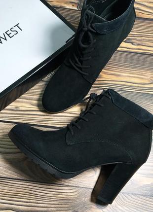 68577ddd6 Nine west оригинал замшевые ботильоны ботинки на шнуровке широком каблуке