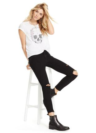 Стильные джинсы суперскинни с потёртым эффектом и разрывами черного цвета р.36, 38.