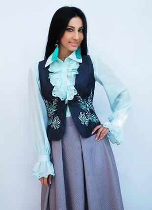 """Нарядный женский костюм с вышивкой """"мятная свежесть""""  вышиванка"""
