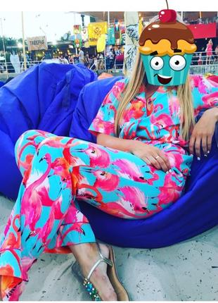 Костюм в пижамном стиле из шелка принт фламинго