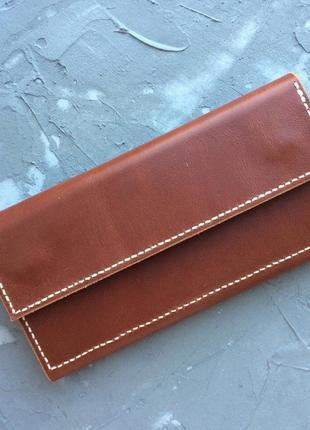 Многофункциональный кошелёк ручная работа глянцевая натуральная кожа