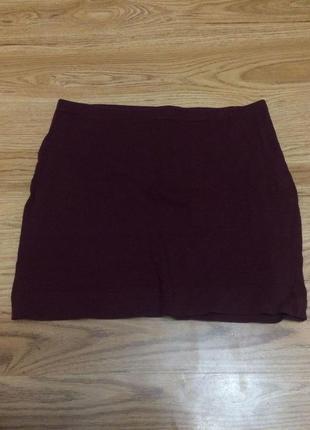 Вишнёвая бордовая узкая мини юбка карандаш