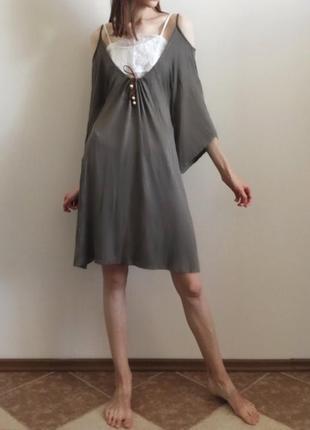 Платье-туника цвета хаки