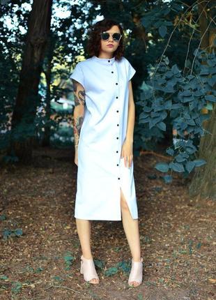 Платье-рубашка кокон белого цвета, все размеры