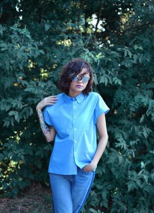 Рубашка-кокон голубого цвета, есть все размеры