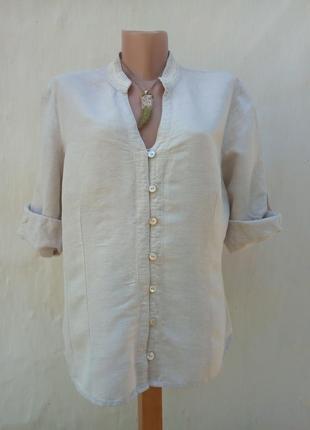 Льняная рубаха с вышевкой по вороту,большой размер,вискоза,батник.