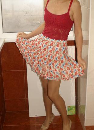 Отличная шифоновая юбка воланами, на широкой резинке, с подъюбником