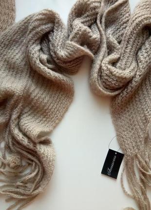 Вязаный шарф с бубонами