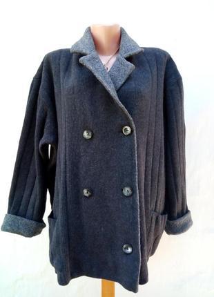 Шерстяной меринос теплый комбинированый джемпер,большой размер,кофта,кардиган.
