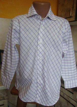 Рубашка белая в фиолетовую клетку bhs 116 см 6 лет 65%полиэстер, 35%котон