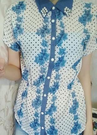 Блуза/рубашка с цветами в горошек