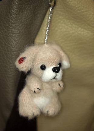 Брелок для сумки щенок пушистый