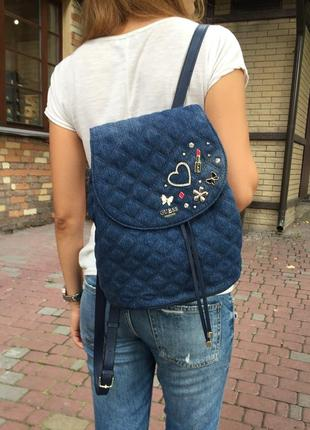 Крутой рюкзак guess darin в трендовом дениме! оригинал! guess