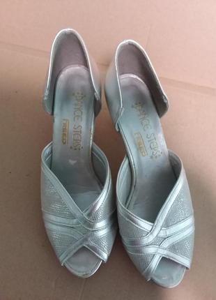 Серебряные кожаные босоножки для бальных танцев