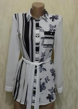 Черно-белая блуза с поясом, р.44