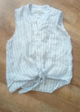 Льняная блузка в полоску gap