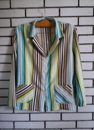Женский льняной пиджак жакет в полоску