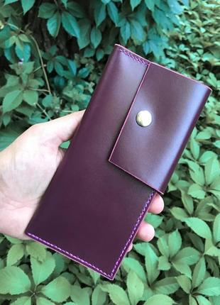 Кожаный кошелёк/органайзер для денег,карт цвета марсала hand made