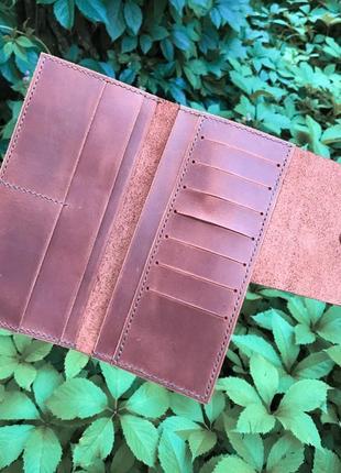 Кожаный кошелёк/органайзер для денег,карт коричневого цвета hand made
