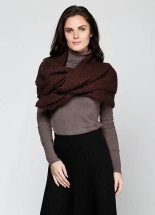 Шарф zara цвет шоколадный размер m большой и тёплый