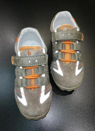 Кроссовки из натуральной замши и кожи bama цвета хаки, р. 25 (16,8 см.)