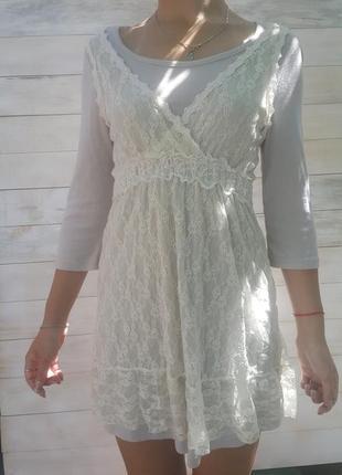 Платье беж с кружевом yuki
