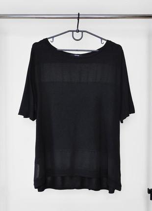 Черная футболка с прозрачными вставками от george.