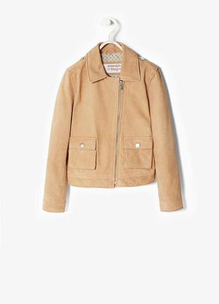 Mango куртка кожаная 100% замша натуральная