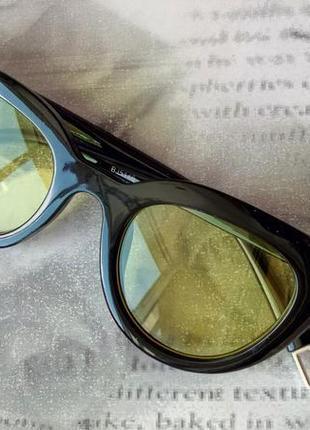 Распродажа! трендовые глянцевые черные очки желтые линзы унисекс имиджевые для имиджа