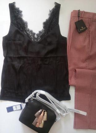 Майка в бельевом стиле h&m шелковая майка с кружевом сатиновый топ hm р.36 s m черная