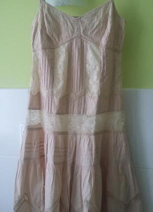 Шикарное нюдовое платье john rocha кружево хлопок