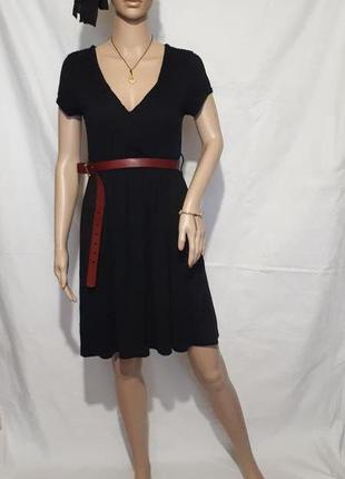 Черное платье миди с коротким рукавом onlу