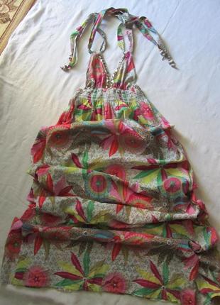 Летние легкое пляжное летнее платье в пол.