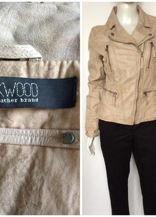 Oakwood бежевая с эффектом потертости в стиле гранж косуха кожаная куртка
