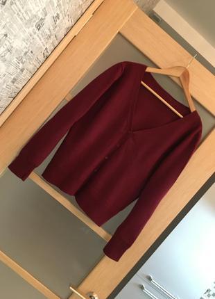Бордовый темно - красный джемпер на пуговицах кардиган (бесплатная доставка)