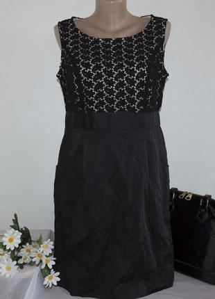 Брендовое миди платье с карманами taifun ажур коттон
