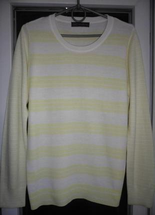 Женский трикотажный полосатый пуловер вязаный реглан marks&spenser джемпер демисезон рукав