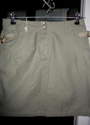 Узкая юбка sancred милитари хаки зеленая оливковая размер s карманы \молния спереди