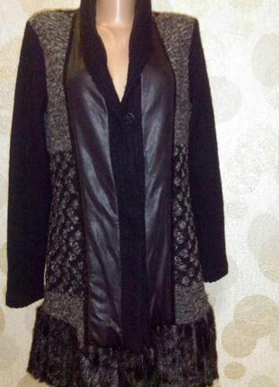 Шерстяное комбинированное пальто,жакет,кофта кардиган  с пайетками и иск норкой