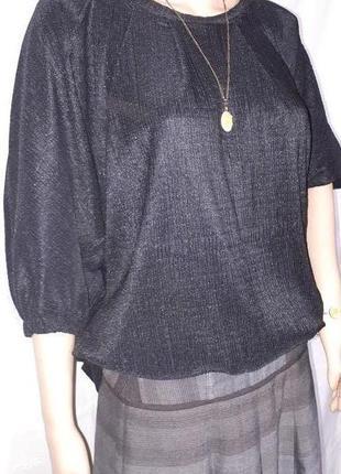 Футболка женская блуза большой размер кофта плиссе черная с рукавом 3/4 турция
